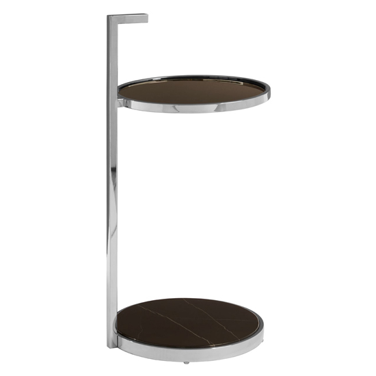 Markeb Black Glass End Table With Chrome Base