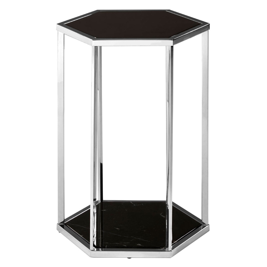 Product photograph showing Markeb Black Glass End Table With Silver Base