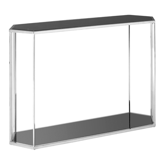 Markeb Black Glass Top Console Table With Silver Frame