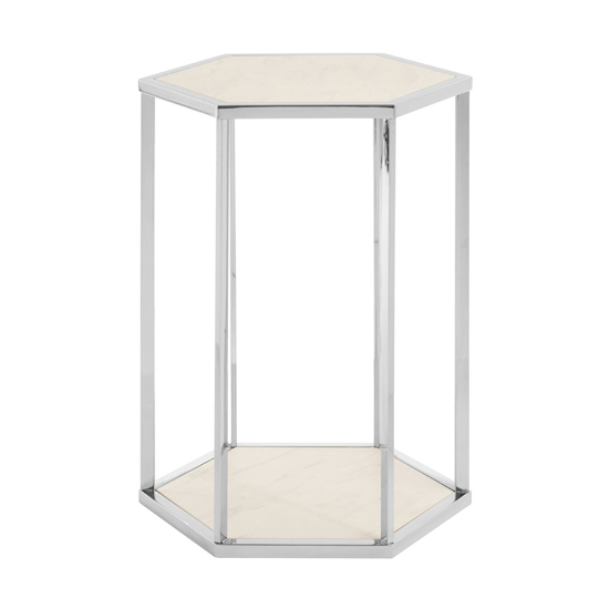Markeb End Table In White And Silver