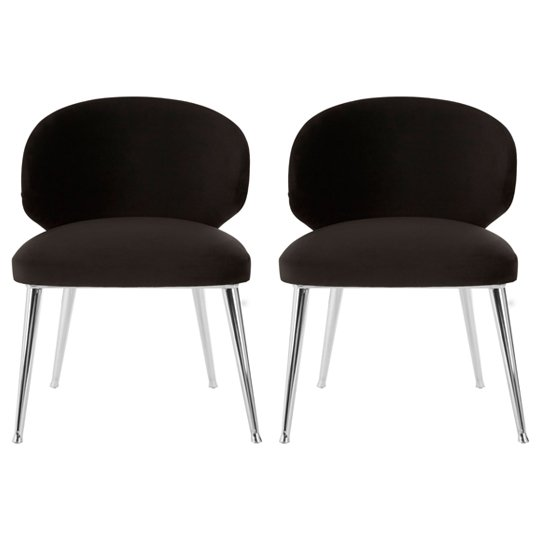 Markeb Fabric Dining Chair With Steel Base In Pair
