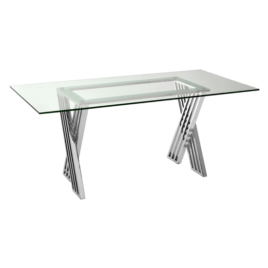 Markeb Glass Dining Table With Silver Metal Legs