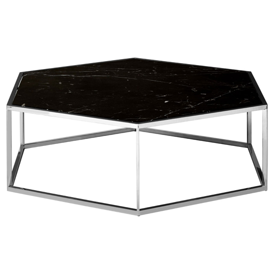 Markeb Hexagon Marble Coffee Table With Silver Frame