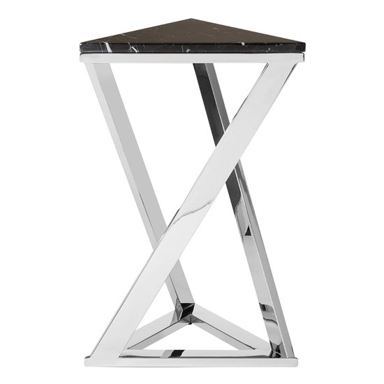 Markeb Marble End Table In Black And Silver