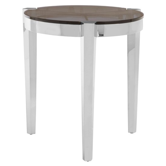 Markeb Round Glass End Table In Silver
