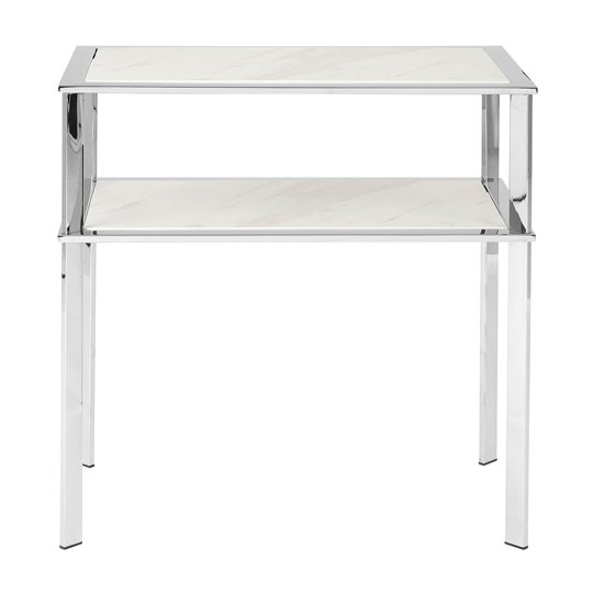 Piermount Stainless Steel 2 Shelves End Table In Silver