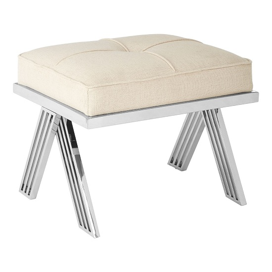 Piermount Dressing Stool With Silver Steel Base In Grey