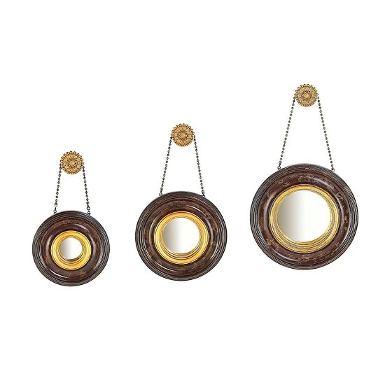Pierre Set Of 3 Wall Mirror Round In Dark And Warm Gold Finish