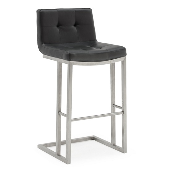 Pietro Bar Stool In Black PU With Brushed Metal Frame