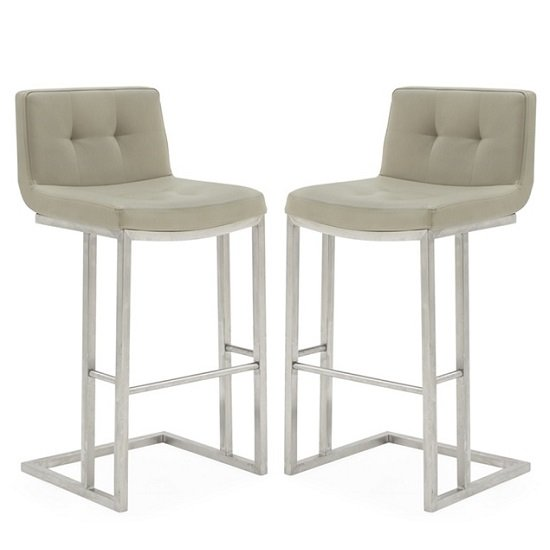Pietro Bar Stool In Taupe PU And Brushed Metal Frame In A Pair