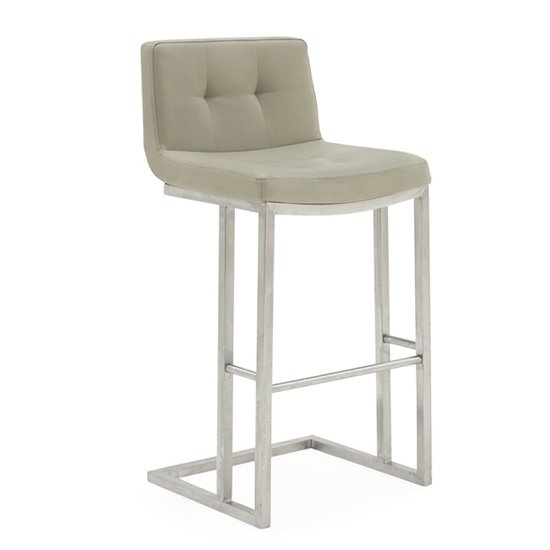 Pietro Bar Stool In Taupe PU With Brushed Metal Frame