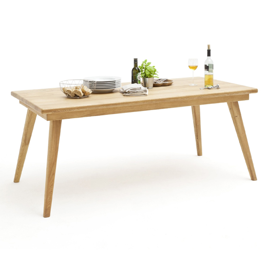 Pietro Large Wooden Angled Legs Dining Table In Solid Oak