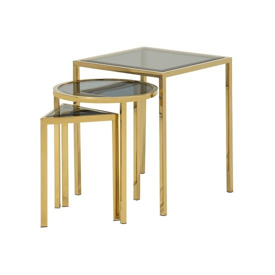 Pike Glass Nest Of 3 Tables In Smoked And Gold Plated Steel Base_1