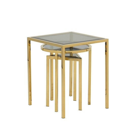 Pike Glass Nest Of 3 Tables In Smoked And Gold Plated Steel Base_2