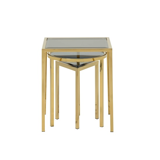 Pike Glass Nest Of 3 Tables In Smoked And Gold Plated Steel Base_3