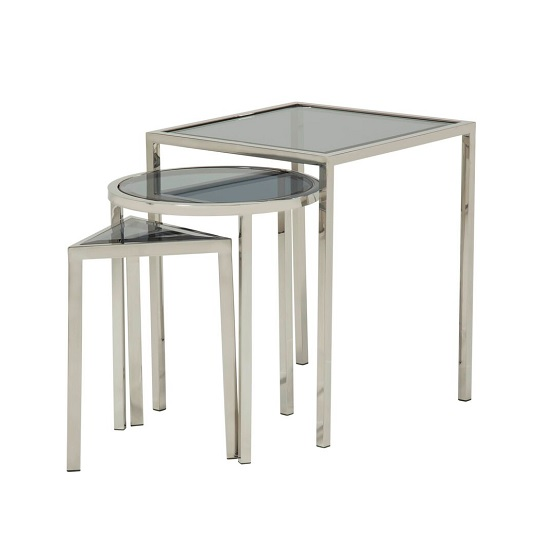 Pike Glass Nest Of 3 Tables In Smoked And Silver Base