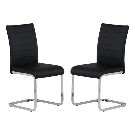 Pindall Dining Chair In Black With Chrome Frame In A Pair
