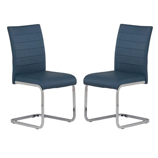 Pindall Dining Chair In Blue With Chrome Frame In A Pair