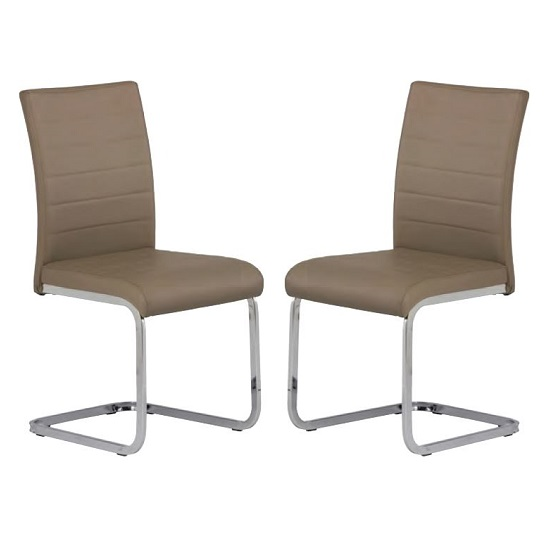 Pindall Dining Chair In Taupe With Chrome Frame In A Pair