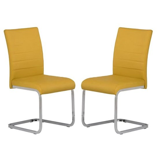 Pindall Dining Chair In Yellow With Chrome Frame In A Pair