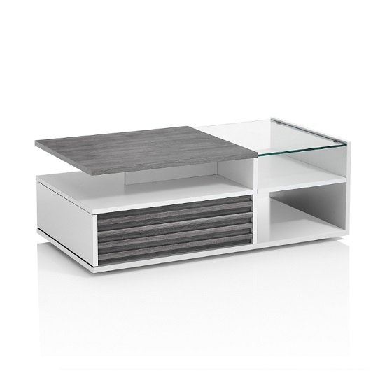 Pinellas Coffee Table In Grey Oak And White Lacquered Gloss
