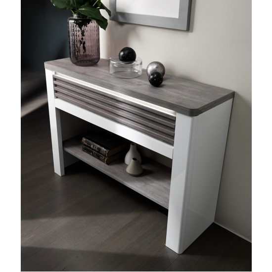 Pinellas Console Table In Grey Oak And White Lacquered Gloss