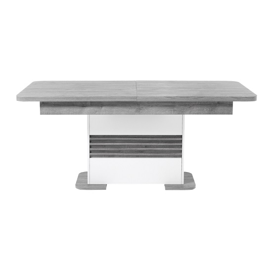 Pinellas Extending Dining Table In Grey Oak And White Lacquered