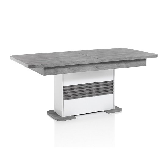 Pinellas Extending Dining Table In Grey Oak And White Lacquered_2