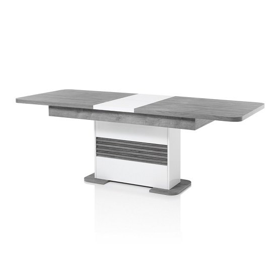 Pinellas Extending Dining Table In Grey Oak And White Lacquered_3
