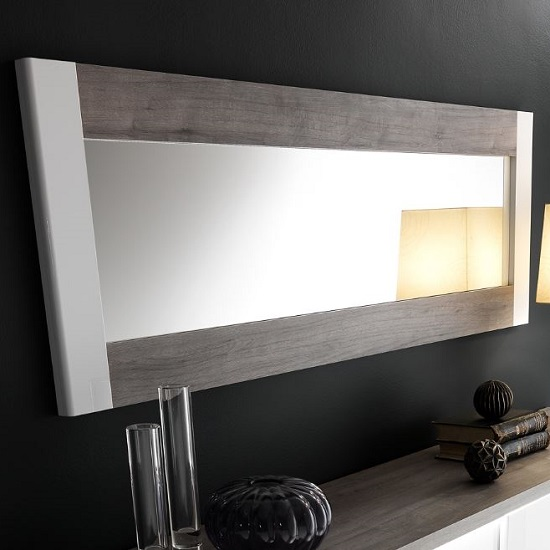 Pinellas Wall Mirror In Grey Oak And White Lacquered Gloss