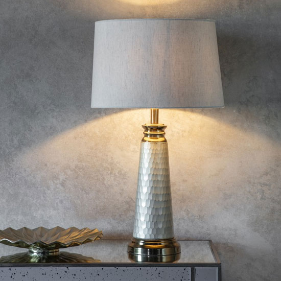 Product photograph showing Pioneer Table Lamp In Gold And Silver