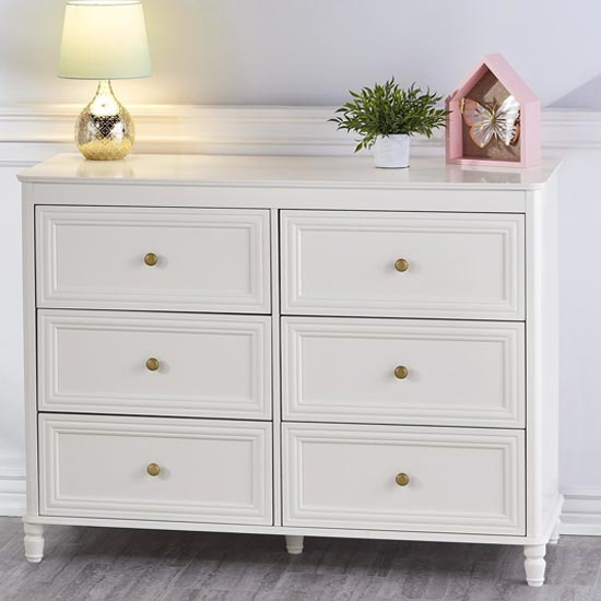 View Plaistow wooden chest of drawers in cream with 6 drawers