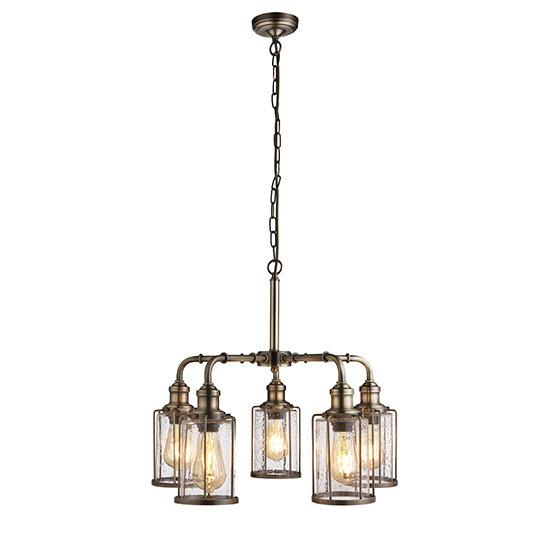 Pipes 5 Lights Pendant Celing Light In Antique Brass