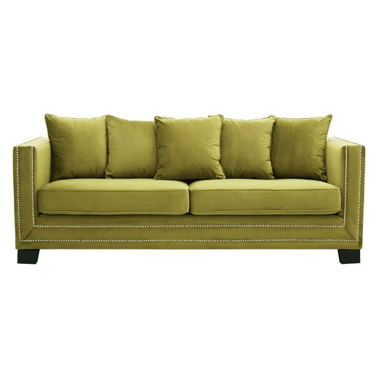 Pipirima 3 Seater Velvet Sofa In Green