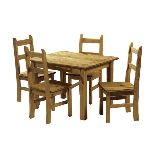 Piplod Dining Table In Waxed Pine With Four Dining Chairs