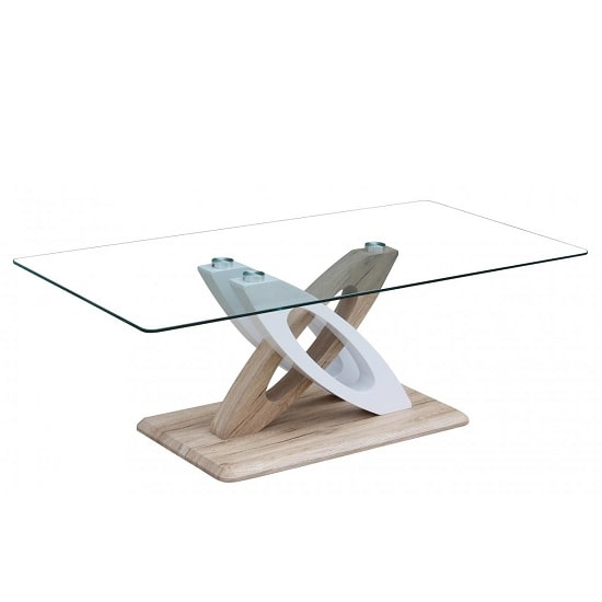 Pirlo Glass Coffee Table With Natural Wood Effect White Gloss