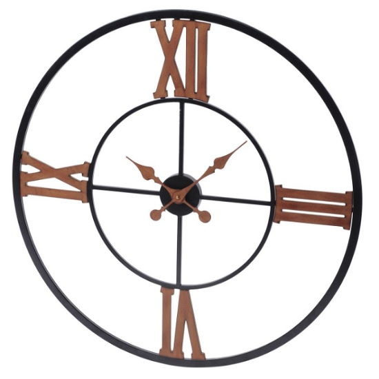 Pirlo Contemporary Wall Clock In Black And Copper