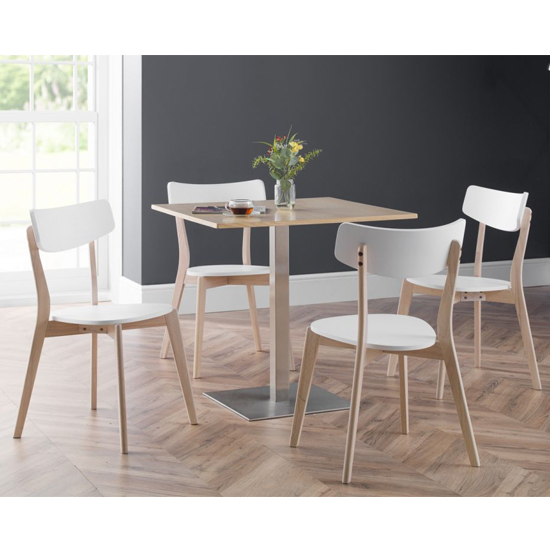 Pisa Dining Set In Oak With 4 Casa White And Oak Chairs