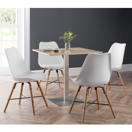 Pisa Dining Set In Oak With 4 Kari White And Oak Chairs