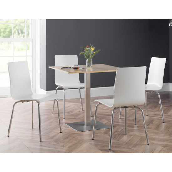 Pisa Dining Set In Oak With 4 Mandy White Chairs