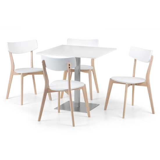 Pisa Dining Set In White With 4 Casa White And Oak Chairs_2
