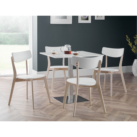 Pisa Dining Set In White With 4 Casa White And Oak Chairs_1