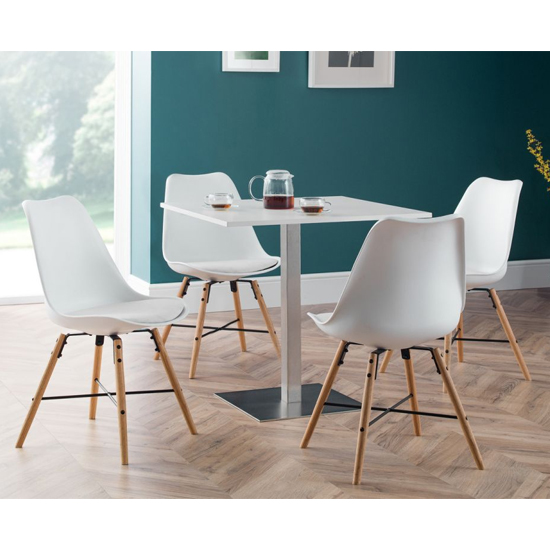 Pisa Dining Set In White With 4 Kari White Leather Chairs