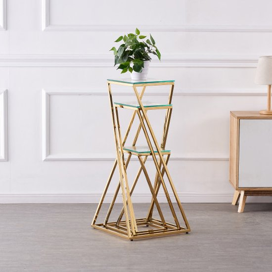 Pisa Set Of 3 Clear Glass Side Tables With Gold Steel Legs_2