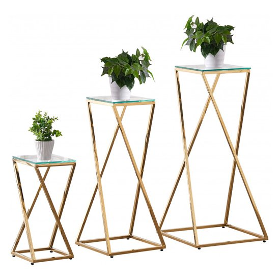 Pisa Set Of 3 Clear Glass Side Tables With Gold Steel Legs_3