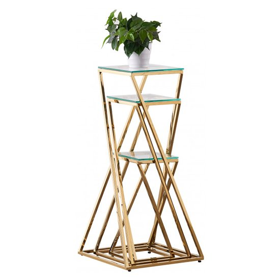 Pisa Set Of 3 Clear Glass Side Tables With Gold Steel Legs_4