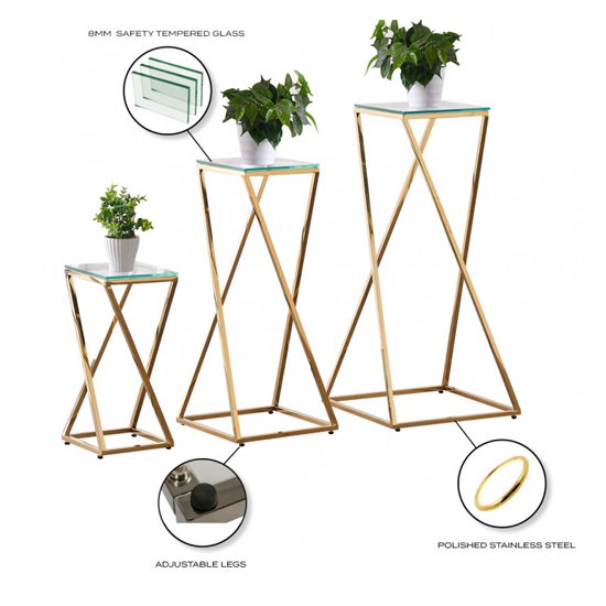 Pisa Set Of 3 Clear Glass Side Tables With Gold Steel Legs_5