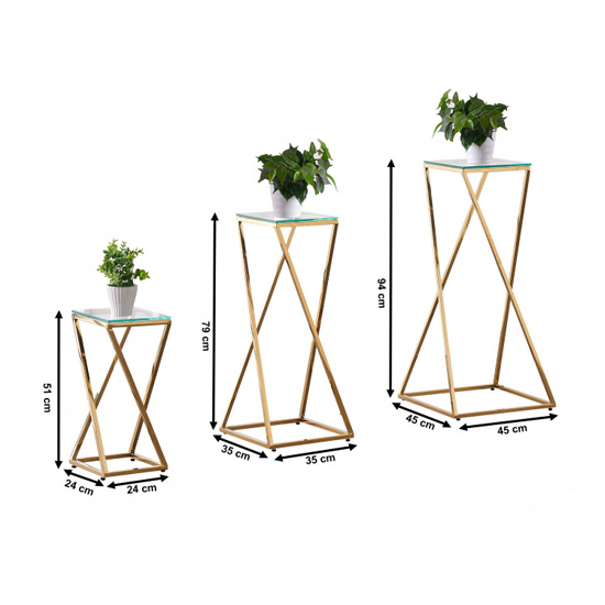 Pisa Set Of 3 Clear Glass Side Tables With Gold Steel Legs_6