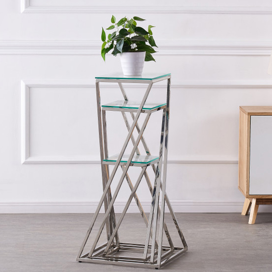 Pisa Set Of 3 Clear Glass Side Tables With Silver Steel Legs_2