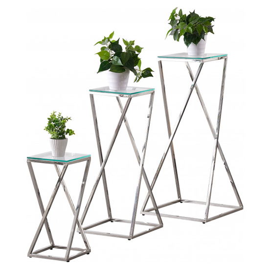 Pisa Set Of 3 Clear Glass Side Tables With Silver Steel Legs_3